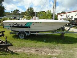 Used 1993 Proline Center Console Fishing Boat Hull And Trailer Open Fisherman