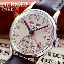 Hermes Watch Triple Calendar 1950and039s Pointer Date Men Antique Rare From Japan