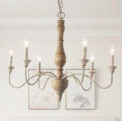 Lnc Rustic Farmhouse Chandelier 29.5w W/antique French Country Accents-nob