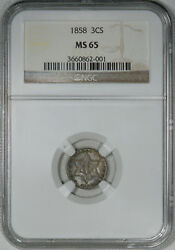 1858 Ngc Ms65 Three Cent Silver, Original Piece With Decent Luster, Scarcer Date