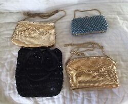 Lot of 4 Evening Bags Purse Beaded Gold Mesh Hard Shell Cloth Nice $35.00