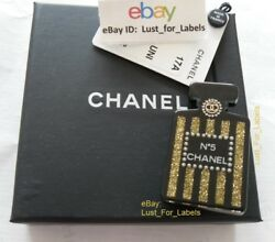 17a Perfume Bottle Brooch Black Gold Glitter Pearl Coco Suite Nwt New