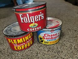 Vintage Tin Can Coffee Advertising Lot Folgers Flemings Chase And Sanborn