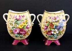 Rare Antique 19c French Pair Vases Gibus And Redon Limoges France