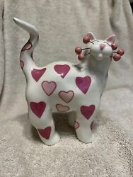 Amy Lacombewhimsiclaysweetheart Cat Figurine W/pink Hearts2002htfexcellent