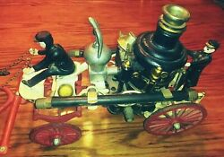 Vintage Horse Drawn Fire Dept. Steamer Engine Toy Reproduction From 1960and039s