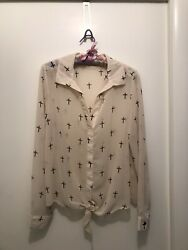 Vince Camuto Long Sleeve Pullover V-neck Blouse With Crosses Sz Med