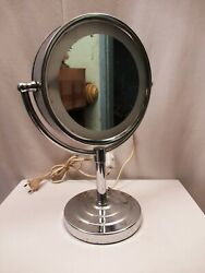 Vintage Desktop Stand Mirror Double Sided Vanity Dresser With Light Collectible