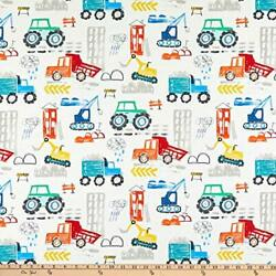 Michael Miller Diggers And Dumpers Construction Site White Quilting Fabric By...