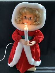 Vintage Telco Animated Motionette Christmas Girl Caroler W Candle 19 Works