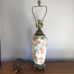 Vintage Phoenix Consolidated 1930s Satin Art Glass Bittersweet Lamp W/ Finial