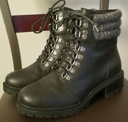 Womenand039s Torrid Faux Leather W/ Sweater Cuff Hiking Boots Size 8.5 W New Black