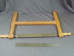 Vintage Wooden Crosscut Bow Buck Saw Double Handle Extra Blade Rustic Wood Work