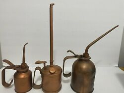 Lot Of 3 Vintage Tin Thumb Pump Oil Cans American F. Jaden Mfg.co Eagle Oil Can