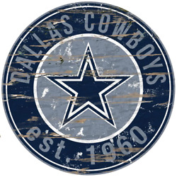 24 Nfl Dallas Cowboys Round Distressed Sign Home Decor Man She Cave Game Room