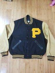 Vtg Mitchell Andness 1960 Pittsburgh Pirates World Champions Wool Leather...