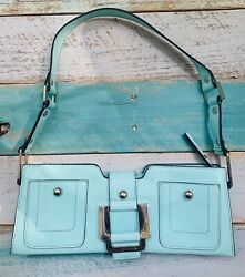 GUESS Over the Shoulder Clutch Aqua Teal Leather $22.99