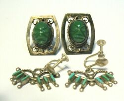 Vintage Sterling Silver Turquoise Earring Lot Screw Down Mexico Southwest