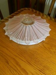 Antique 40and039s Ceiling Light Lamp Fixture Chandelier Shade Pink Glass Sunflower Lg