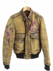 Flower Hand Paint Made In Italy A-2 Leather Jacket Size46 _54879