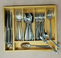 Wallace French Shell Stainless Flatware 38pc Set Knives Forks Spoons Serving