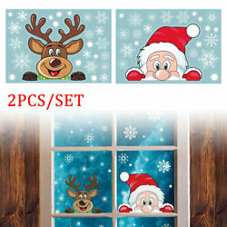 Christmas Stickers Window Decorations Santa Claus Home Shop Winter Wall Decals