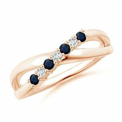 Round Blue Sapphire And Diamond Crossover Ring In Gold/platinum Size 3-13
