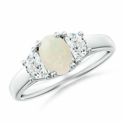 Three Stone Oval Opal And Half Moon Diamond Ring In Silver/gold/platinum