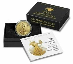 American Eagle 2021 One Ounce Gold Uncirculated Coin 21ehn Tracking Confirmed