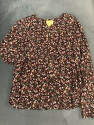 Anthropologie Mauve Floral Longsleeve Blouse Size Small
