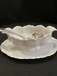 Limoge Gravy Boat Attached Underplate International Silver Co China Ladle Vtg