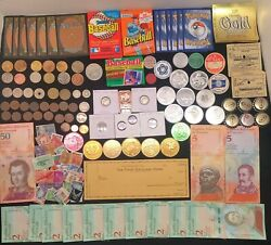 Great Collection -silver Coin Junk Drawer Lots Vintagetokens Banknotes Cardsandnbsp