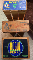 Lot Of 23 Vtg Wood Fruit Crate Boxes - 1940's/50s/ - Rare Store Wooden Tray