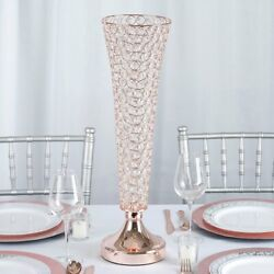 2 Rose Gold Metal 22 Tall Faux Crystal Beaded Trumpet Vases Wedding Centerpiece