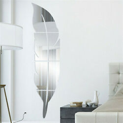 Feather Mirror Tiles Wall Stickers Self Adhesive Decoration Office Art Decals