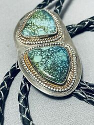 Jackson Seibert Vintage Navajo Spiderweb Turquoise Sterling Silver Bolo Signed