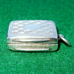 Antique Victorian Sterling Silver Vinaigrette Watch Fob Ed Smith Band039ham 1862 Old