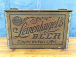 Vintage Leinenkugel Beer Wood Crate Chippewa Falls Wi Great Condition
