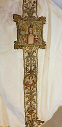 Antique French Silk Silver Threads Brocade Christian Vestment Chasuble 19c