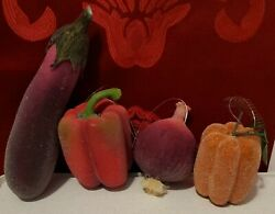 4 Piece Beaded Frosted pumpkin pepper onion zucchini Sugared Home Décor Set