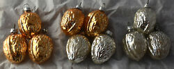 Vintage Christmas Ornament Set Glass Walnut Gold Silvered German Feather Tree
