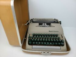 Vintage Smith Corona Clipper Gray Green Typewriter With Case