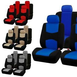 9 Part Car Seat Covers Set For Auto W/steering Wheel/belt Pad/head Rests 4 Color