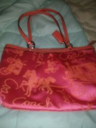 Coach 14482 Horse Carriage Sateen Patent Leather Pleated Shoulder Bag