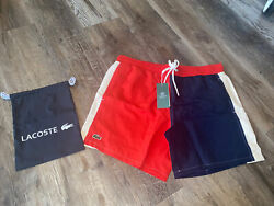 Mens Authentic Lacoste Colorblock Swimming Shorts Trunks Red Large