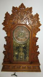 Antique W.m.l. Gilbert Concord No.3 Kitchen Clock With Alarm 8-day Time/strike