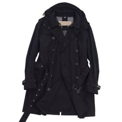 Back Check Hooded Trench Coat Polyester Outer Mens Black _78335
