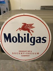 Old Porcelain Single Sided 30 Inch Mobilgas Gas And Oil Sign
