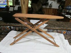 Vintage Antique Wooden Childs Ironing Board Adjustable Height 29 Long Folding