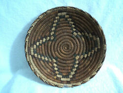 Older Papago Native American Indian 12 Wide Coiled Woven Basketry Bowl Tricolor